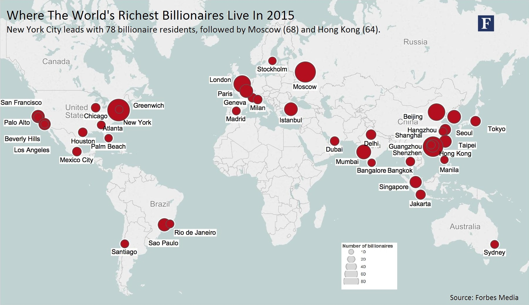 Geography Of Billionaires Mapping Nationalities And Residency - World largest cities map